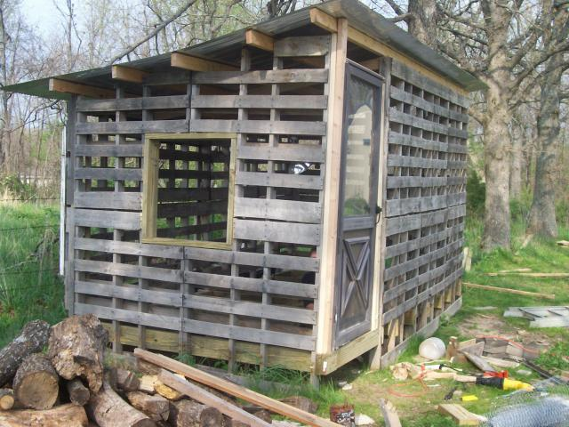 Chicken coop made from shipping pallets tbn ranch for How to build a chicken coop from wooden pallets